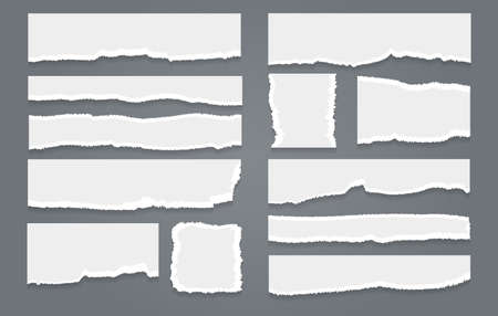 Ripped white paper sheet set. Torn page pieces, crack in notebook elements, vector illustration of ragged edges of blank shredding papers isolated on gray background Vettoriali