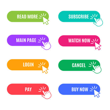 Trendy buttons for website shop. Colorful flat button with arrow, click on label for action, vector illustration of online interfaces for buying on web site isolated on white background Vettoriali