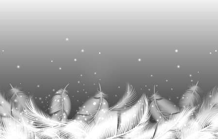 Realistic falling feathers. Twirled furry birds plumage feather background, elegant weightless angeles wings elements, soft and smooth white decorative details of winged animal Vettoriali