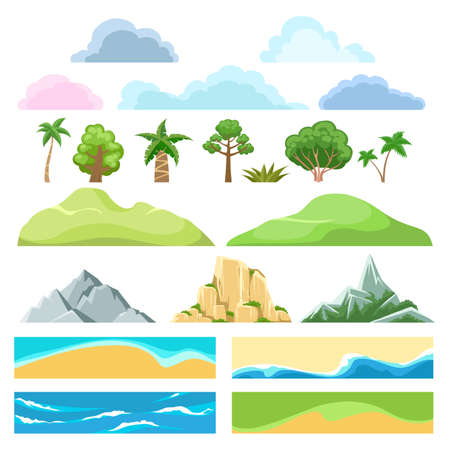 Landscape constructor. Cartoon flat creation kit from trees and bushes, mountains and hills, clouds and coast, sand and grass, vector illustration elements of travelling on nature Vettoriali