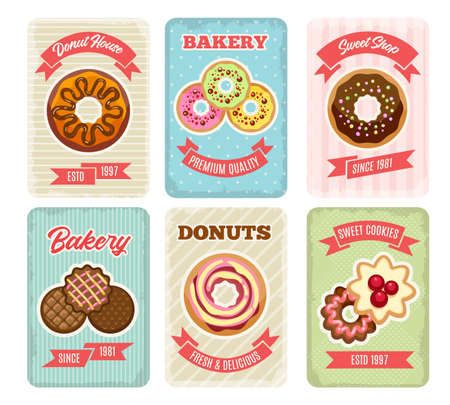Bakery retro posters. Cartoon   of donuts and sweet cookies cards, cute emblems of deliciousness nutrition, pastries with glaze from bakery on banners vector illustration