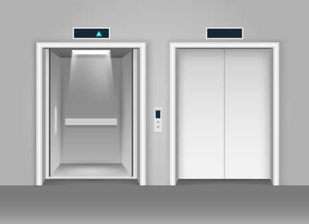 Realistic steel elevators. Open and closed lift doors, design chrome cabin of elevator, empty business lobby, vector illustration of metal transport for office