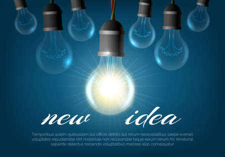 Realistic lightbulb background. Creative lighting bulbs for new ideas, hanging electric illuminating incandescent poster, vector illustration symbols of shining energy for inventions