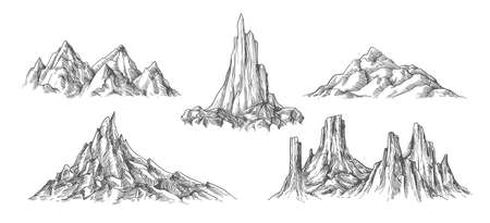 Hand drawn mountains landscape. Sketches of vintage nature elements, engraves of rock peak, vector illustration concept of hiking and climbing on range of mountain Vettoriali