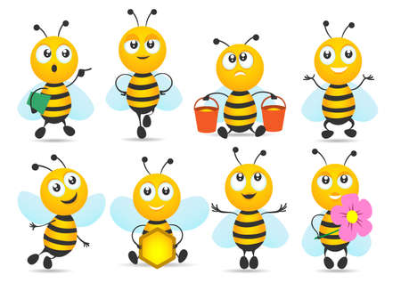 Cartoon honey bee mascot. Cute funny flying insects, smiling characters of delivery sweet organic product, vector illustration mascots of small yellow bees isolated on white background
