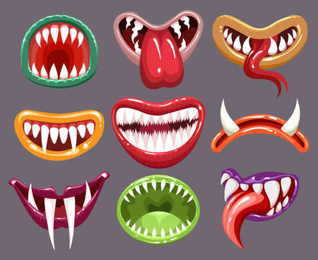 Monster mouths set. Cartoon halloween teeth and tongue of creatures, cheerful design of funny crazy mouths, vector illustration of flat icons of elements character with devils laugh Vettoriali