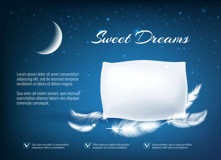 Night dream pillow. Realistic comfort bedtime poster, concept of relax and dreaming in bed, advertising of sleeping on home texture pillows with soft feathers