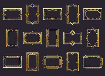 Golden art deco line frames. Golden decorative lines borders, creative design of antique ornamental label icons, vector illustration of abstract vintage ornate romantic outline