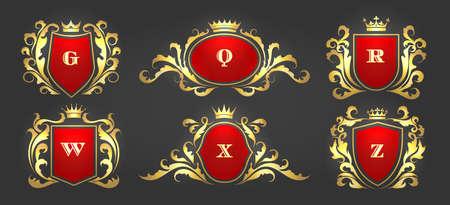 Golden vintage flourish monograms. Vettoriali