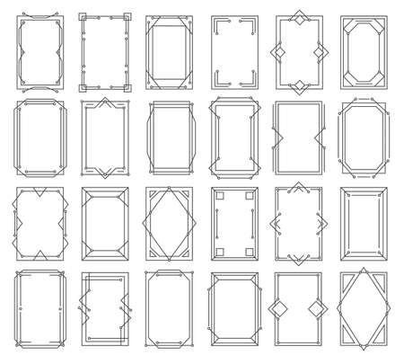 Art deco vintage linear geometric frames. Vettoriali