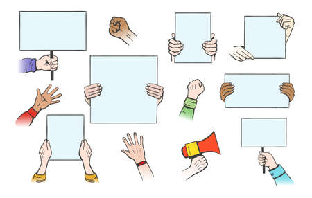 Hands hold protesters banners. Cartoon empty flat posters for protest, concept of peace sign, vector illustration elements of conflict, political revolution isolated on white background Vettoriali