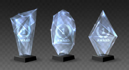Realistic glass trophies. Crystal awards for winners, championship prizes to celebration on pedestal, vector illustration of acrylic trophy set isolated on transparent background