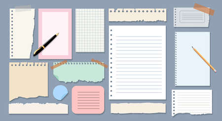 Sheets of copybook for notes. Colourful blank labels for posts, ripped pages for memories, vector illustration of stationery for notice list or information isolated on grey background Vettoriali