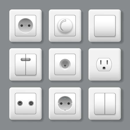 Realistic electric switches and sockets. Power sockets to control electricity, 3d switch icons, vector illustration of plastic wall objects for connecting plugs Vettoriali