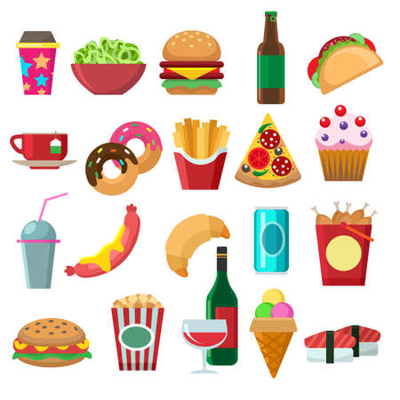 Fast food flat icons set. Cartoon pictures of fries, snacks and hamburgers, designer dessert icons for menu, vector illustration of elements of lunch isolated on white background