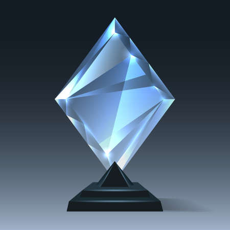 Realistic crystal trophy. Glass award for winner, championship prize to celebration on pedestal, vector illustration of acrylic events symbol isolated on transparent background