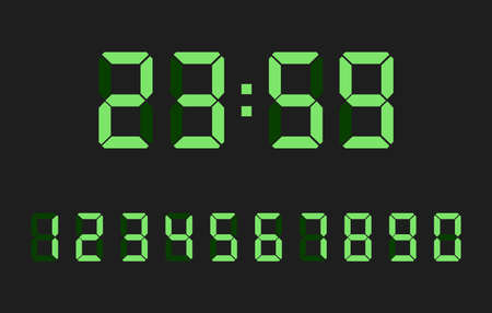 Clock screen numers. Digital electronics lcd display number icons, vector calculator or score monitor font digits, watch liquid crystal scoreboard time type