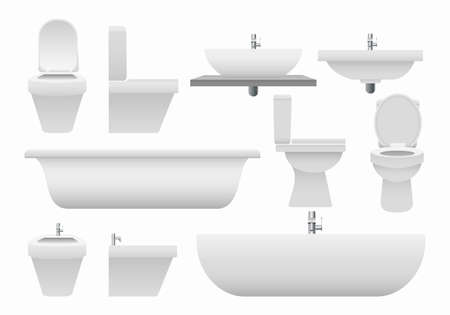 Realistic bathroom collection. 3d modern clean elements from bathroom