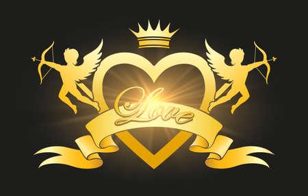 Cupids emblem. Cartoon logo of valentines day Archivio Fotografico - 154080312