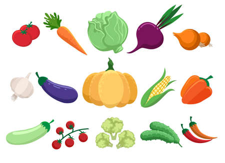 Cartoon vegetables set from farm. Bright collection of colorful veggies as peppers and carrots, broccoli and zucchini, organic vitamins from garden isolated on white background, vector illustration Vettoriali
