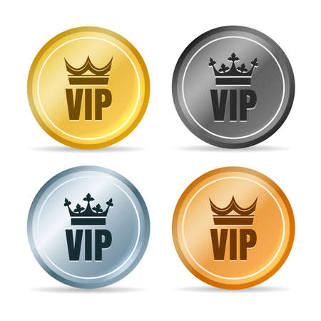 Vip member emblems. Golden and silver circle tags with crown Archivio Fotografico - 154080309