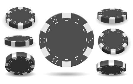 Isolated poker chips. Casino chip set vector illustration, lucky gambler addiction elements for losing and winning concept