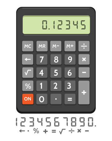 Electronic calculator. Digital basic financial calculator with lcd display and keypad vector illustration