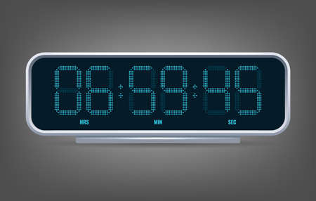 Digital clock counter. Digital watch with date and time, timer design bar, flat watches timetable panel, vector illustration