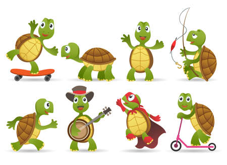 Cartoon cute tortoise set.