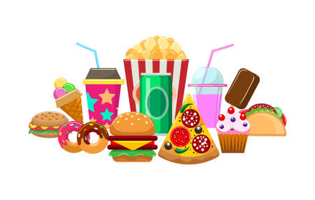 Colorful elements of fast food. Cartoon pictures of fries, snacks and hamburgers, variety meal for fastfood, vector illustration of elements of lunch isolated on white background