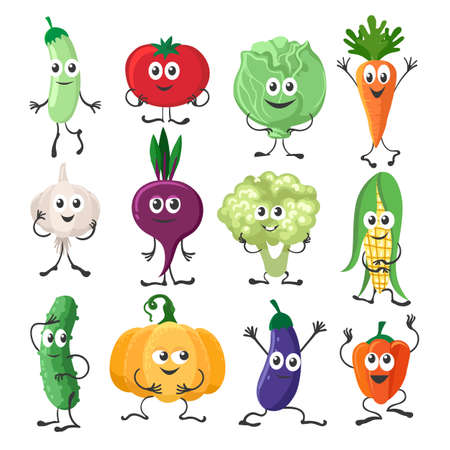 Vegetables characters set. Cartoon funny mascots from farm, concept of organic vitamins, laughing happy veggies as peppers and carrot, broccoli and zucchini isolated on white background
