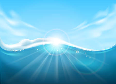Blue sea water and sky surface. Underwater background with sunbeam light, clouds and marine water view, deep blues seascape backdrop, vector illustration