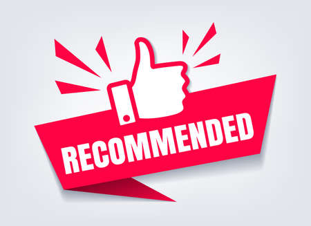 Recommended with thumb up. Like sign or quality branding product recommendation symbol closeup vector icon Archivio Fotografico - 154793815
