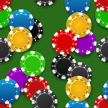 Casino chips seamless pattern. Realistic gambling symbols, plastic tokens for poker or roulette, vector illustration of gaming coins for online risky sport Archivio Fotografico - 154917403