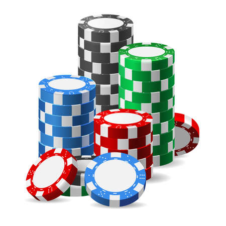 Stack of casino chips. Realistic heap of plastic tokens for poker or roulette, vector illustration of gaming color elements isolated on white background Archivio Fotografico - 154793673