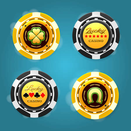 Lucky poker chips. Realistic plastic gold tokens for poker or roulette, symbol of gambling in casino, vector illustration of gaming coins for online risky sport