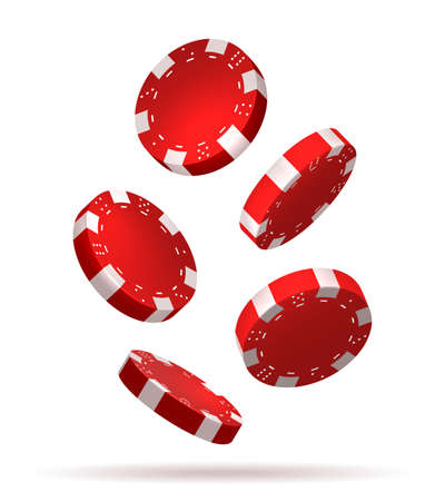 Flying poker chips on white background. Falling gambling casino poker chip set, red 3d playing gaming graphic vector illustration Illustration