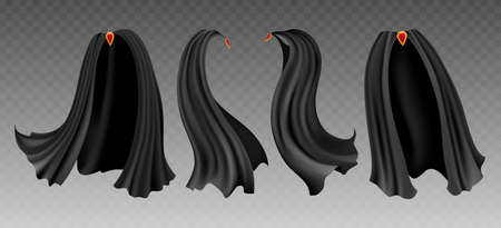 Black cloak. Cloth accessories for magician, vector illustration of decorative costumes from mysterious fabric for vampire isolated on transparent background Archivio Fotografico - 155227607