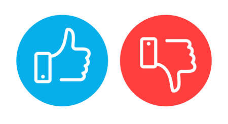 Like and dislike symbols. Circle recommended blue sign and negative feedback red element with hand flat vector icons Archivio Fotografico - 155227608