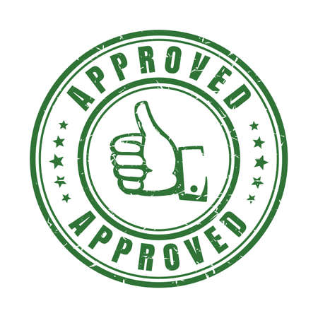 Approve stamp with thumb. Hand and text Approved on seal badge and quality best guaranteed label minimalist vector sign Ilustracja