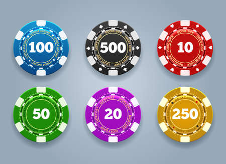 Chips of casino coins. Realistic plastic tokens for poker or roulette, symbol of gambling, vector illustration of gaming elements for online risky sport isolated on grey background