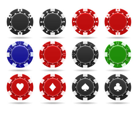 Poker chips on white background. Realistic black and red plastic money for poker or roulette, symbols of gambling in casino, vector token of gaming coins for online risky sport Ilustrace