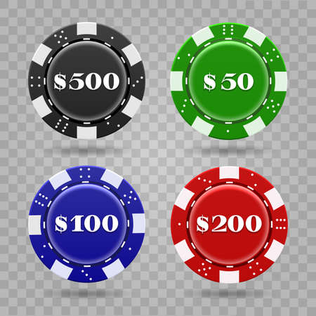 Casino chips on transparent background. Realistic plastic tokens for poker or roulette, symbol of gambling, vector illustration of gaming coins for online risky sport Archivio Fotografico - 155658757