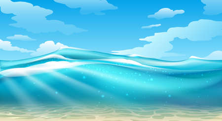 Empty underwater surface view. Vector under sea image, beauty ocean with sun rays and natural clean sand bottom horizon