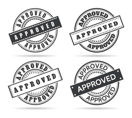 Approve circle seal templates. Approved stamping template set, vector sealed signs with approvals grungy rubber office labels isolated on white background Archivio Fotografico - 155658774