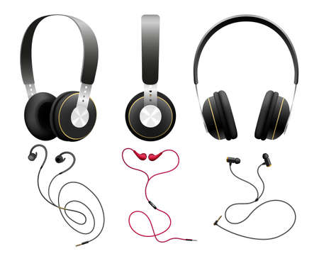 Isolated black earbuds. Headphones objects on white, professional gaming headset and wireless earphones accessories for entertainment, mobile and radio vector illustration