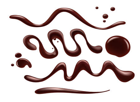 Chocolate syrup isolated. Chocolated sauce swirls, closeup cocoa cream syrups twirls and drops for tasty gourmet confectionery food decoration