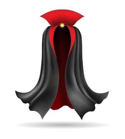 Vampire cloak. Black cloth element of costume for dracula, beautiful festival accessor, vector illustration of decorative mysterious fabric for king isolated on white background Archivio Fotografico - 155658250