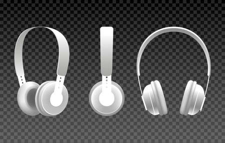 Realistic white headphones. Vector wireless earphones isolated on transparent background for dj head, music hipster headphone accessories