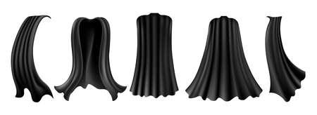 Realistic halloween cloak. Black cape for carnival fashion costume, velvet masquerade garment isolated on white background, vampire dark king velour silk clothing Ilustración de vector